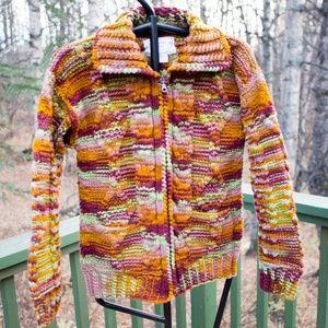 NWOT Hand Knit Full Zip Boho Wool Sweater One Size